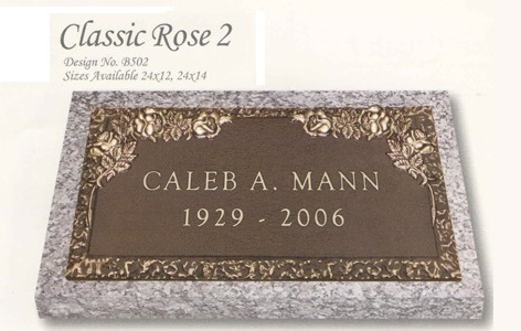 Classic Rose design individual bronze marker without a vase