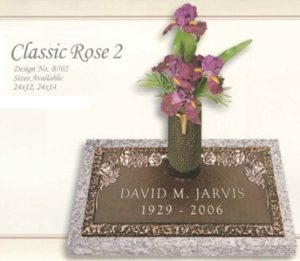 Classic Rose design individual bronze marker with a vase