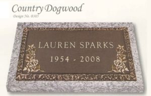 Country Dogwood design individual bronze marker without a vase