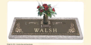 Country Rose design companion bronze marker with a vase