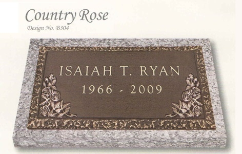 Country Rose design individual bronze marker without a vase