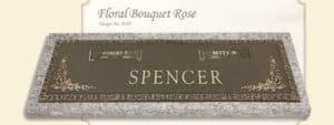 Floral Bouquet Rose design companion bronze marker without a vase