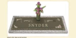 Maple Leaf design companion bronze marker with a vase