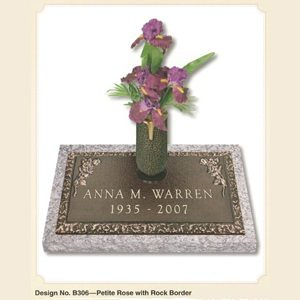 Petite Rose design individual bronze marker with a vase