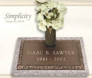 Simplicity design individual bronze marker with a vase